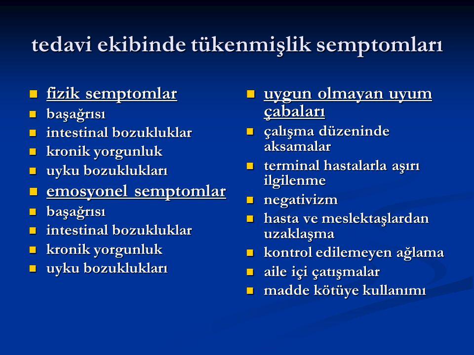 tedavi ekibinde tükenmişlik semptomları