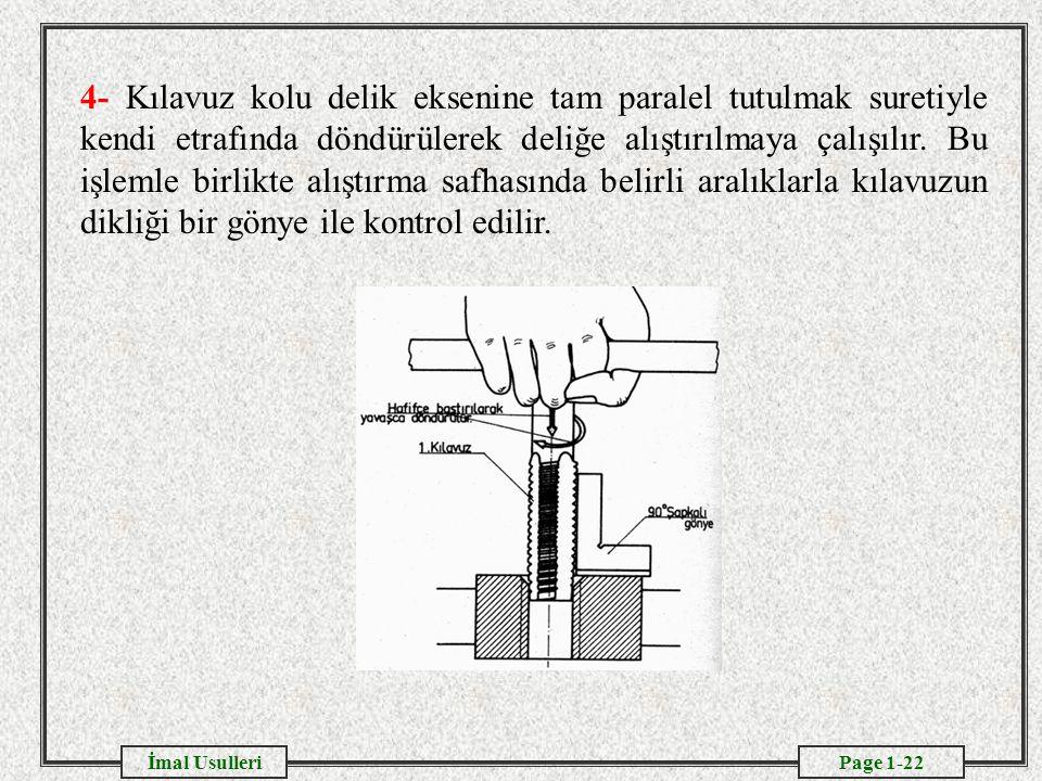 4- Kılavuz kolu delik eksenine tam paralel tutulmak suretiyle kendi etrafında döndürülerek deliğe alıştırılmaya çalışılır.