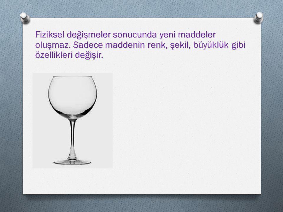 Bardağın dış görünüşünde meydana gelen değişiklik fiziksel değişimdir.