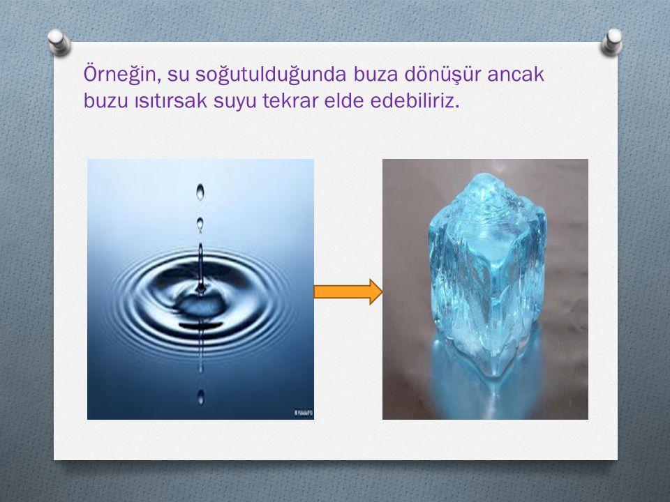 Örneğin, su soğutulduğunda buza dönüşür ancak buzu ısıtırsak suyu tekrar elde edebiliriz.