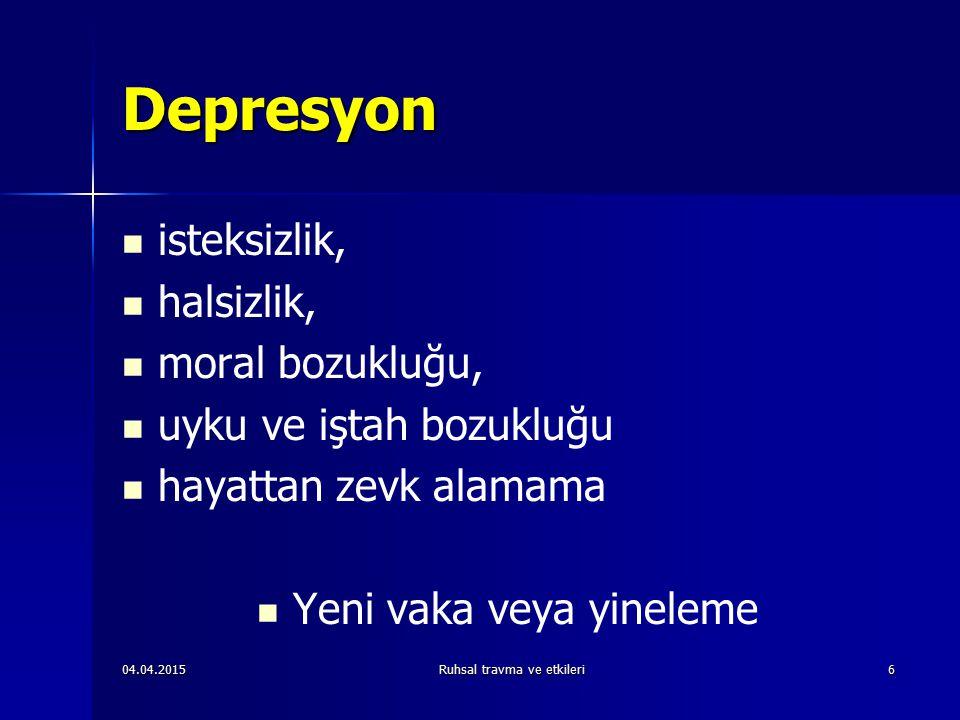 Depresyon isteksizlik, halsizlik, moral bozukluğu,