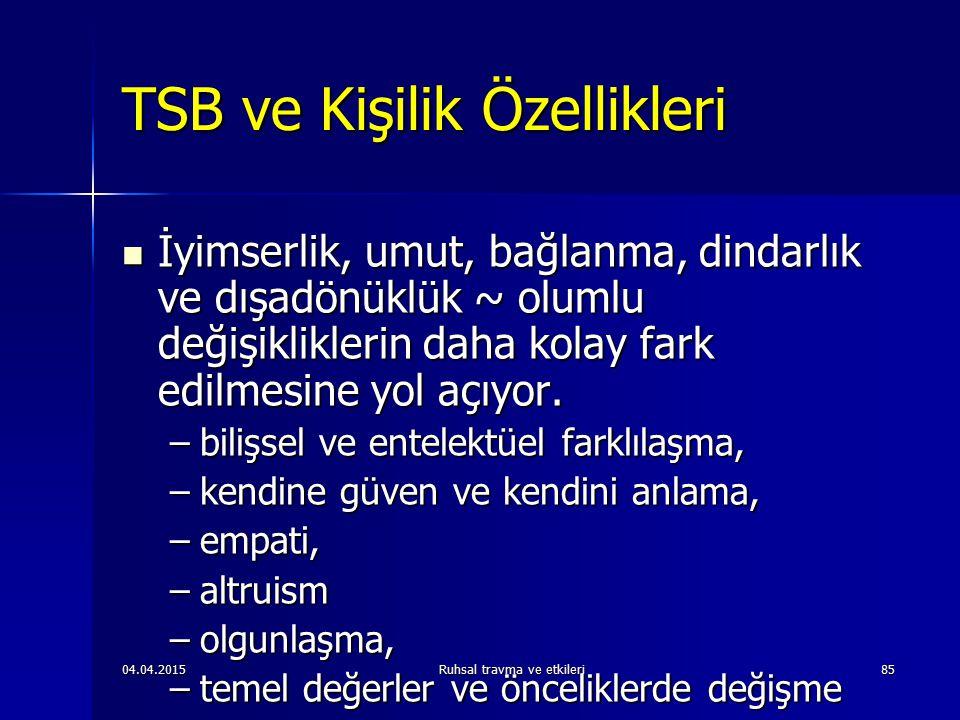 TSB ve Kişilik Özellikleri