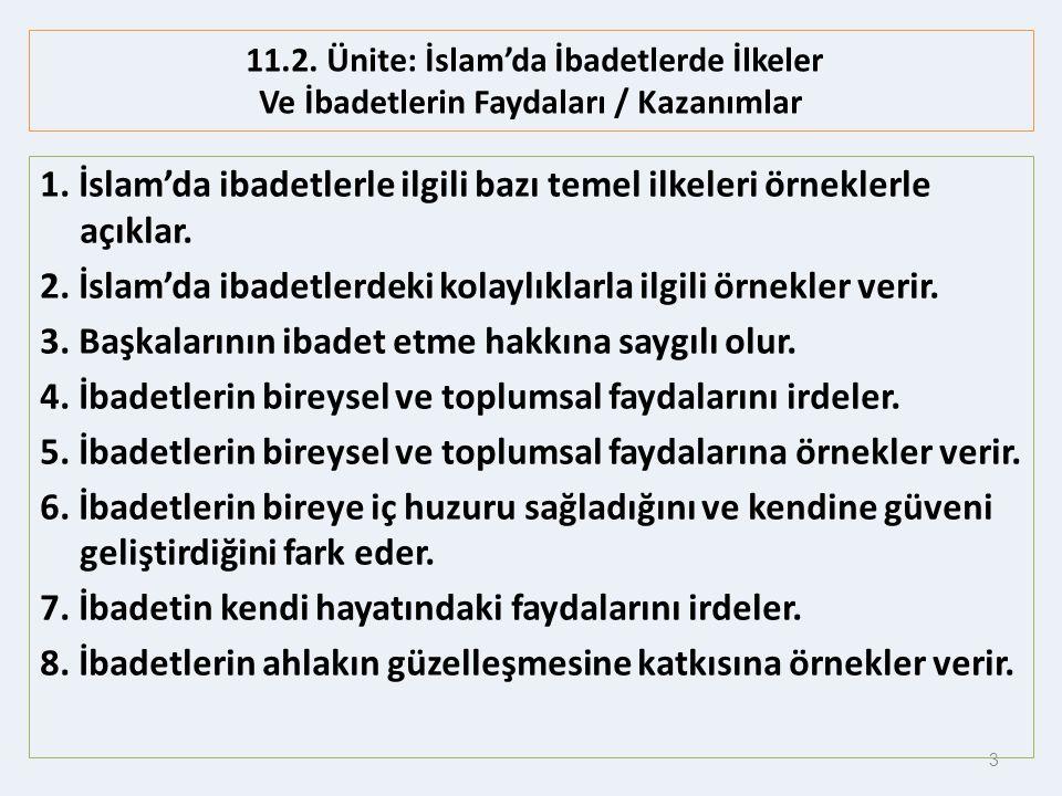1. İslam'da ibadetlerle ilgili bazı temel ilkeleri örneklerle açıklar.