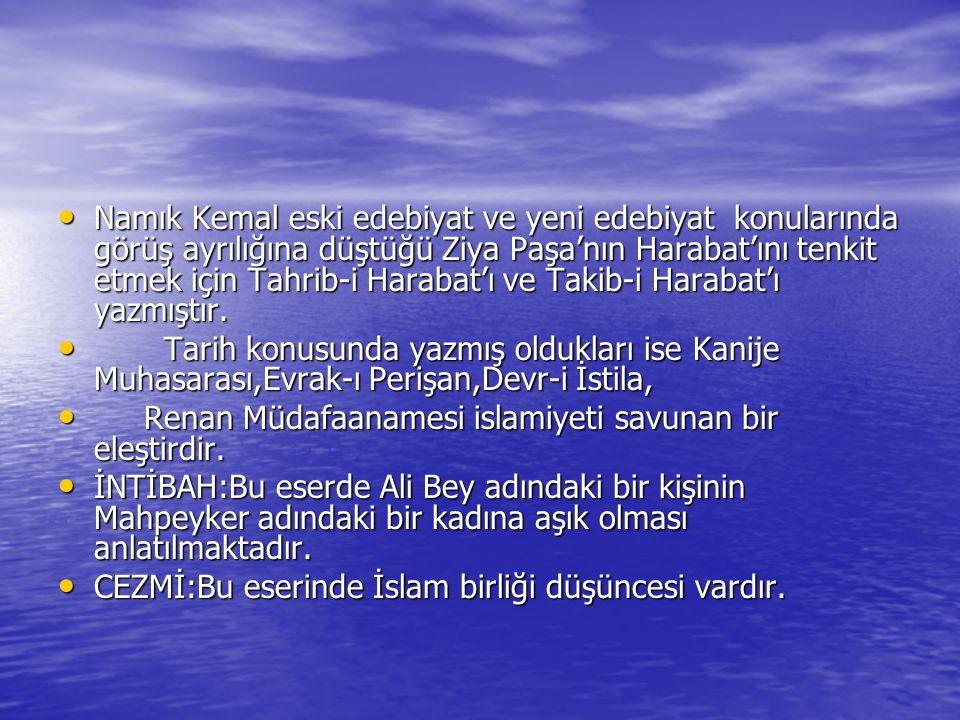 Namık Kemal eski edebiyat ve yeni edebiyat konularında görüş ayrılığına düştüğü Ziya Paşa'nın Harabat'ını tenkit etmek için Tahrib-i Harabat'ı ve Takib-i Harabat'ı yazmıştır.