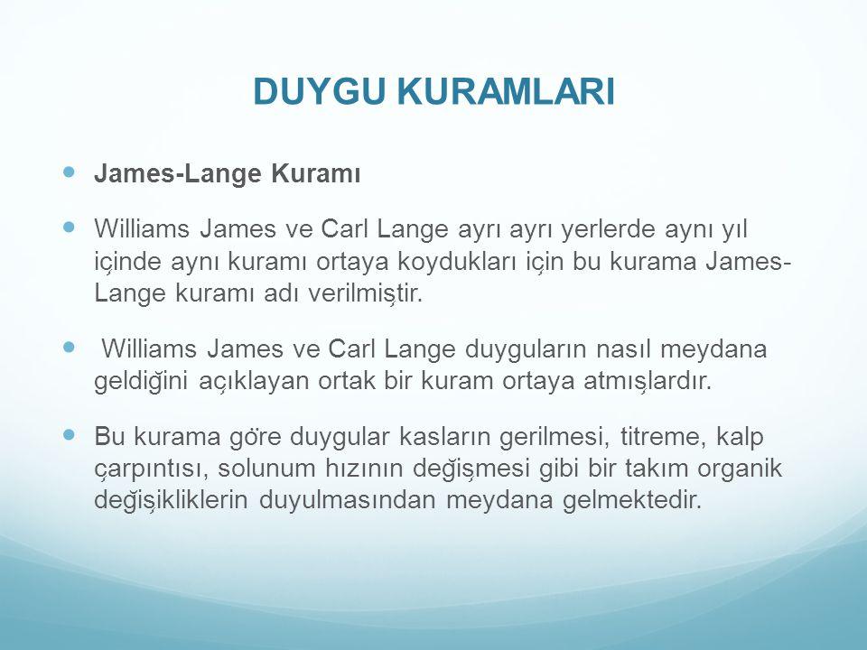 DUYGU KURAMLARI James-Lange Kuramı
