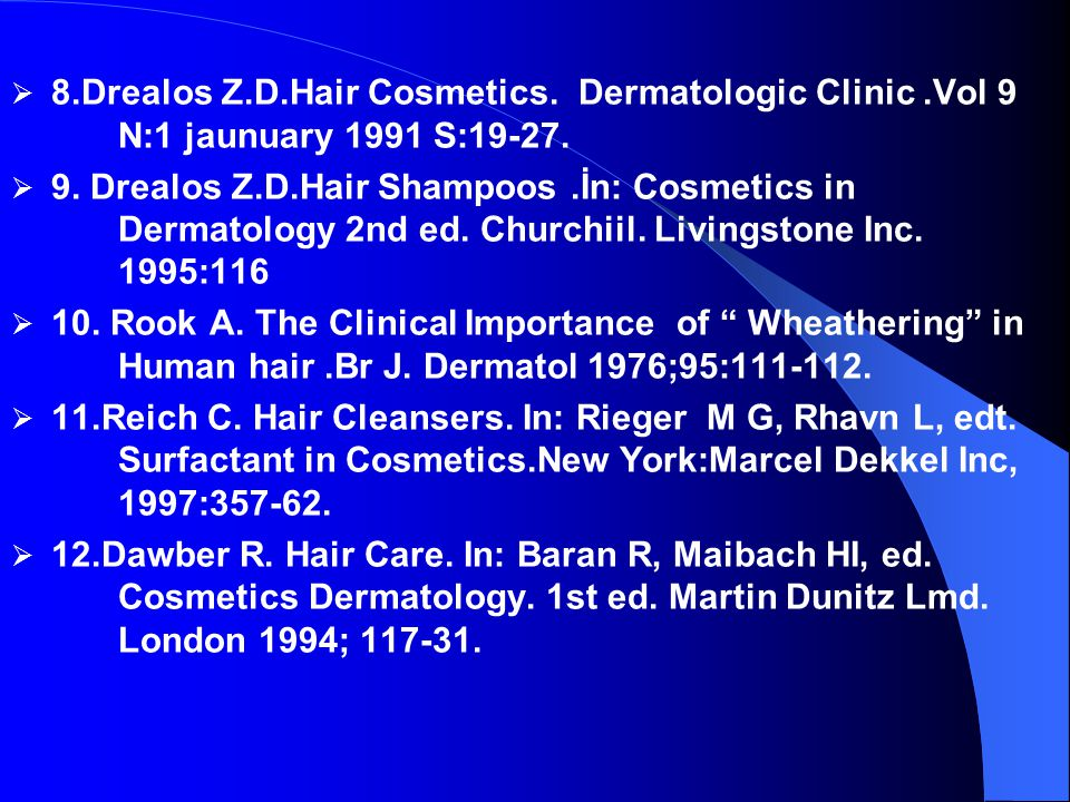 8. Drealos Z. D. Hair Cosmetics. Dermatologic Clinic. Vol 9