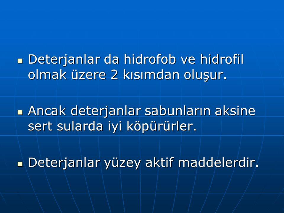 Deterjanlar da hidrofob ve hidrofil olmak üzere 2 kısımdan oluşur.