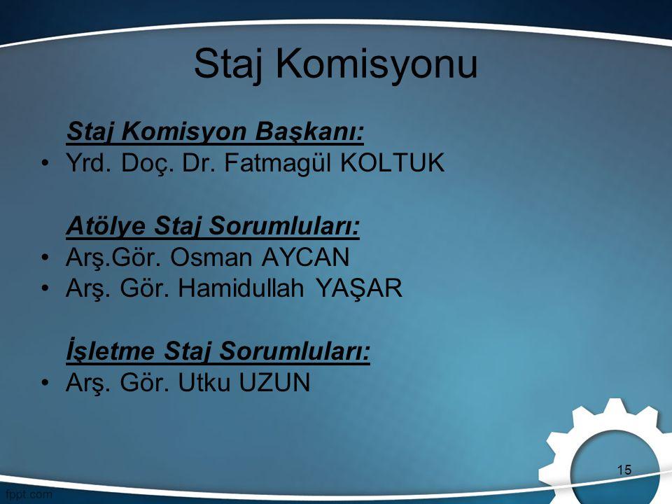 Staj Komisyonu Staj Komisyon Başkanı: Yrd. Doç. Dr. Fatmagül KOLTUK