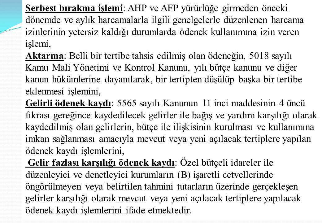 Serbest bırakma işlemi: AHP ve AFP yürürlüğe girmeden önceki dönemde ve aylık harcamalarla ilgili genelgelerle düzenlenen harcama izinlerinin yetersiz kaldığı durumlarda ödenek kullanımına izin veren işlemi,