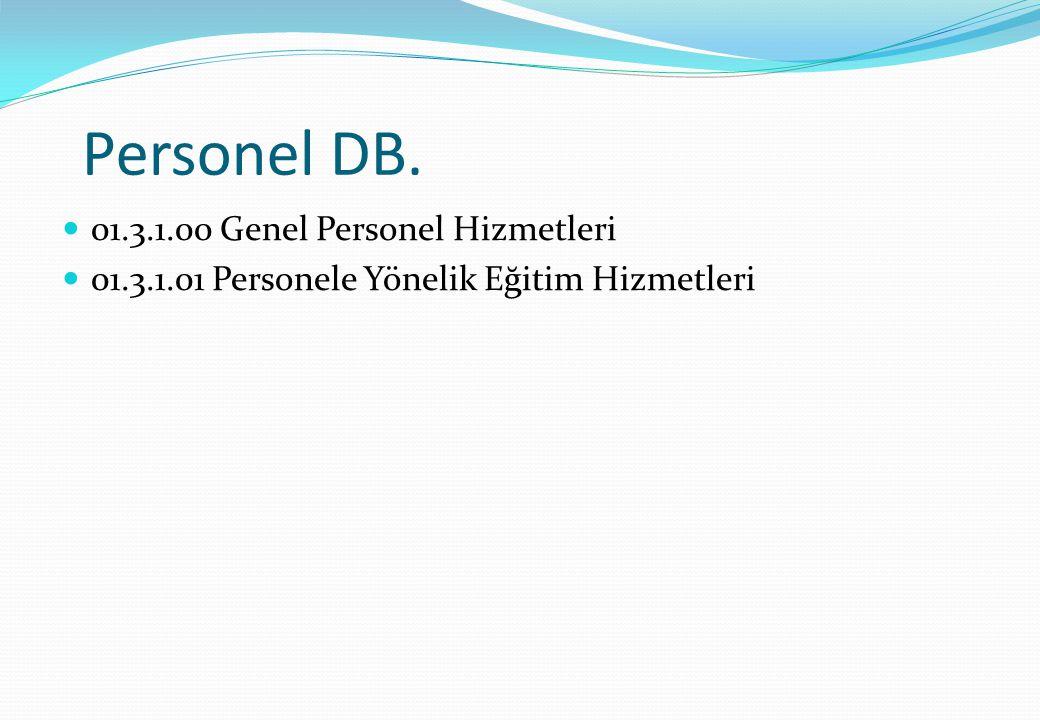 Personel DB. 01.3.1.00 Genel Personel Hizmetleri
