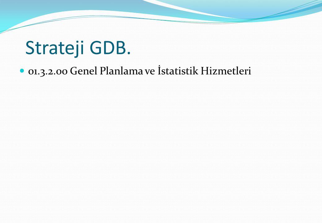 Strateji GDB. 01.3.2.00 Genel Planlama ve İstatistik Hizmetleri