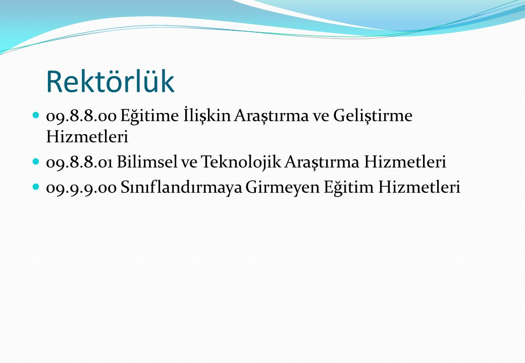 Rektörlük 09.8.8.00 Eğitime İlişkin Araştırma ve Geliştirme Hizmetleri