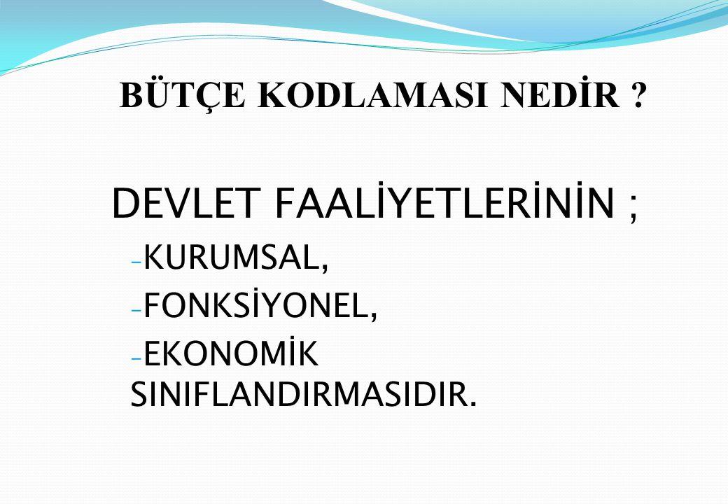 DEVLET FAALİYETLERİNİN ;