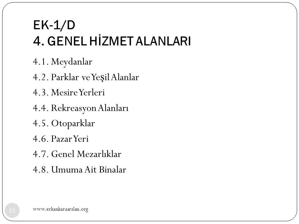 EK-1/D 4. GENEL HİZMET ALANLARI