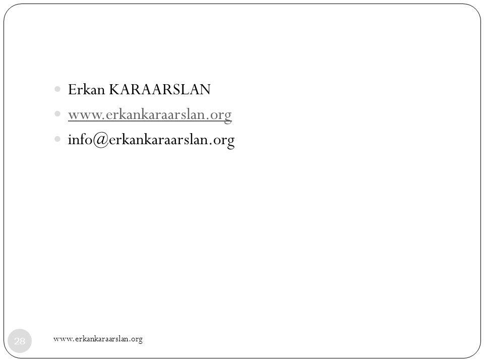 Erkan KARAARSLAN www.erkankaraarslan.org info@erkankaraarslan.org