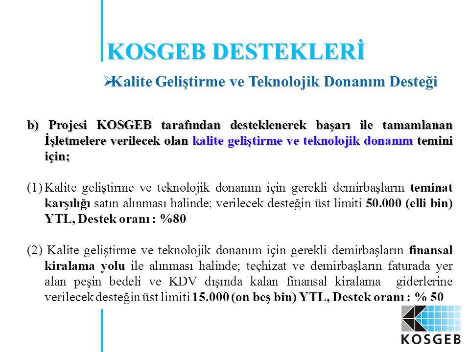 KOSGEB DESTEKLERİ Kalite Geliştirme ve Teknolojik Donanım Desteği
