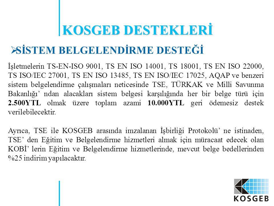 KOSGEB DESTEKLERİ SİSTEM BELGELENDİRME DESTEĞİ
