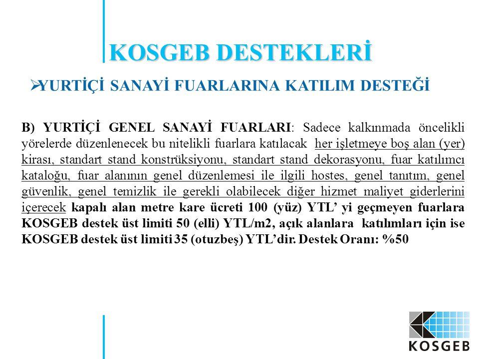 KOSGEB DESTEKLERİ YURTİÇİ SANAYİ FUARLARINA KATILIM DESTEĞİ