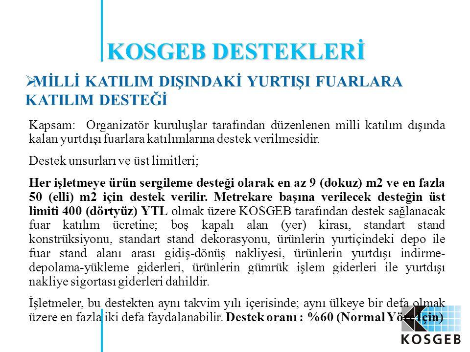 KOSGEB DESTEKLERİ MİLLİ KATILIM DIŞINDAKİ YURTIŞI FUARLARA KATILIM DESTEĞİ.