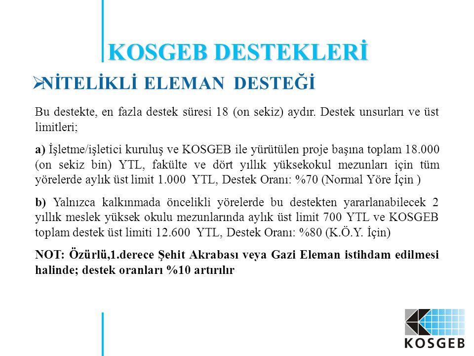 KOSGEB DESTEKLERİ NİTELİKLİ ELEMAN DESTEĞİ
