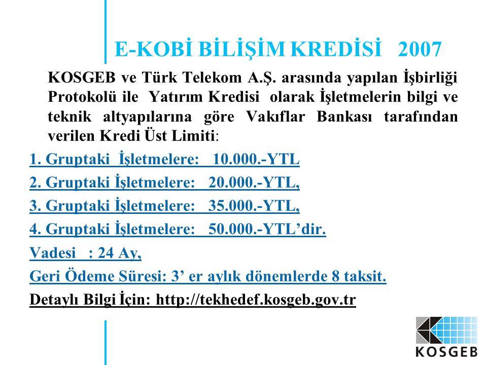 E-KOBİ BİLİŞİM KREDİSİ 2007