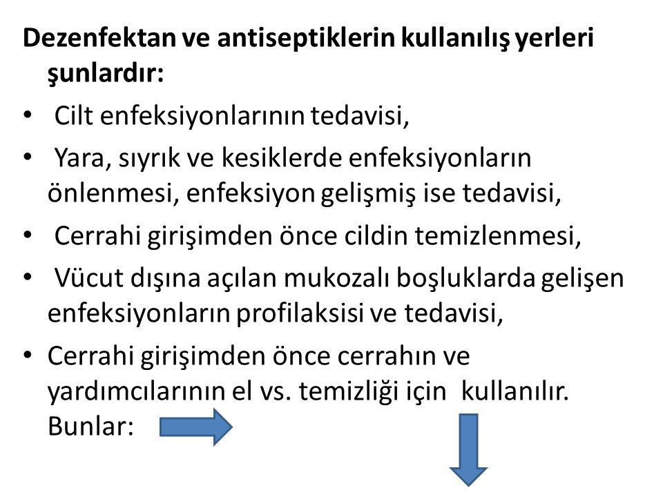 Dezenfektan ve antiseptiklerin kullanılış yerleri şunlardır: