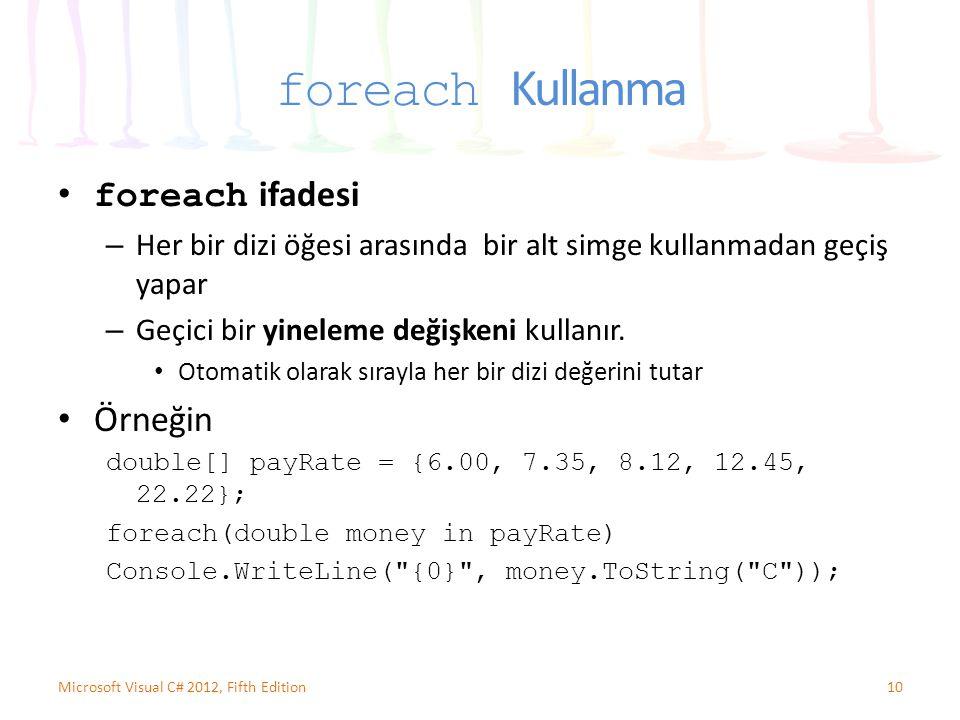 foreach Kullanma foreach ifadesi Örneğin