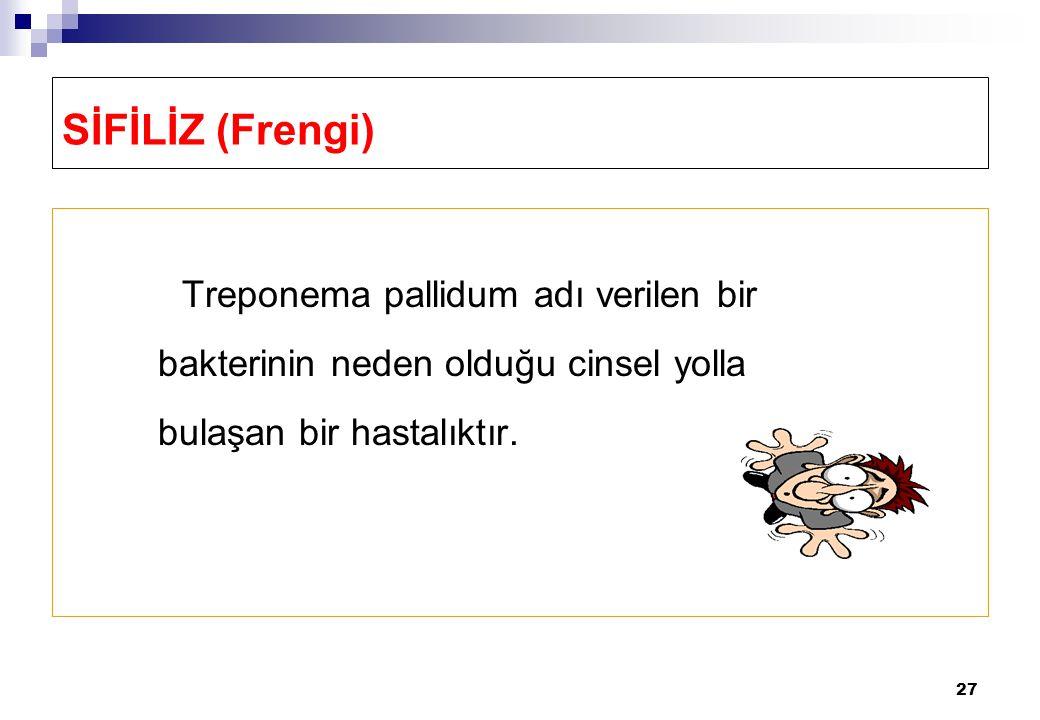 SİFİLİZ (Frengi) Treponema pallidum adı verilen bir