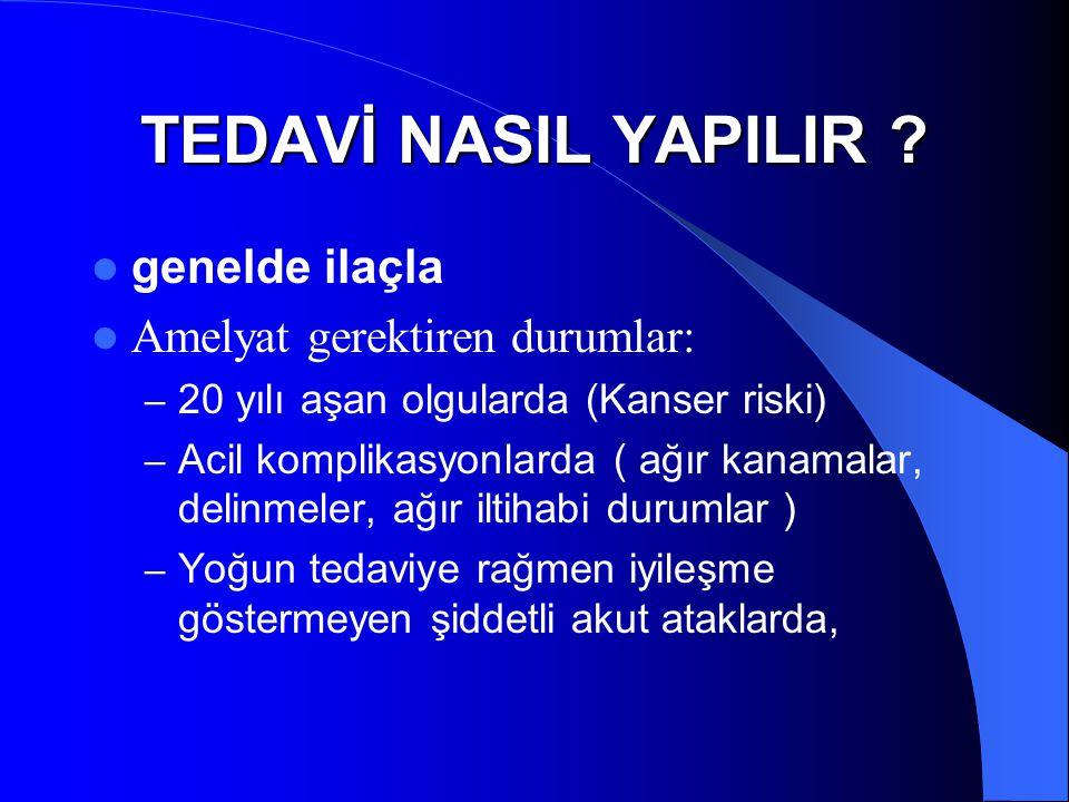 TEDAVİ NASIL YAPILIR genelde ilaçla Amelyat gerektiren durumlar: