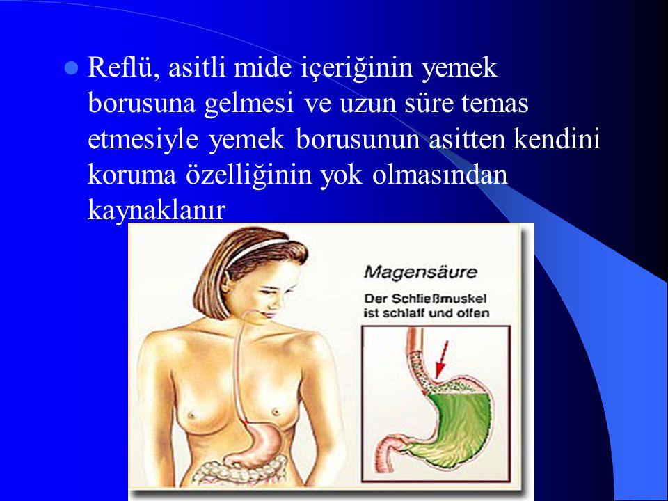 Reflü, asitli mide içeriğinin yemek borusuna gelmesi ve uzun süre temas etmesiyle yemek borusunun asitten kendini koruma özelliğinin yok olmasından kaynaklanır