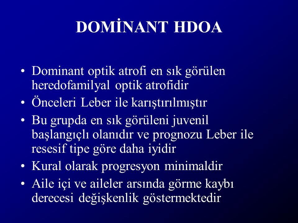 DOMİNANT HDOA Dominant optik atrofi en sık görülen heredofamilyal optik atrofidir. Önceleri Leber ile karıştırılmıştır.