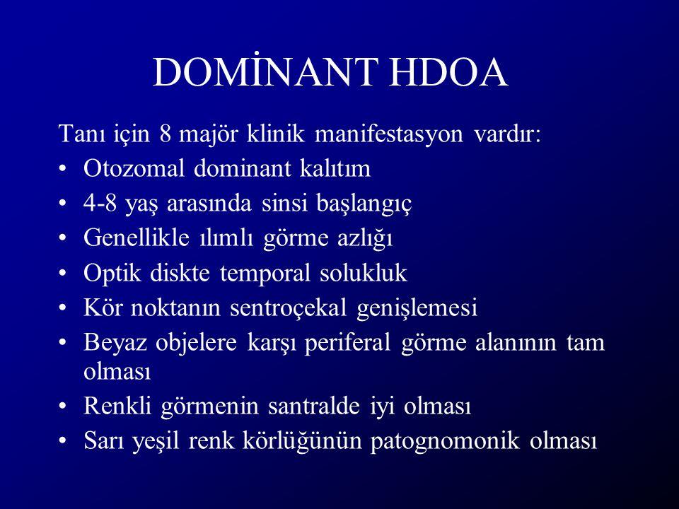 DOMİNANT HDOA Tanı için 8 majör klinik manifestasyon vardır: