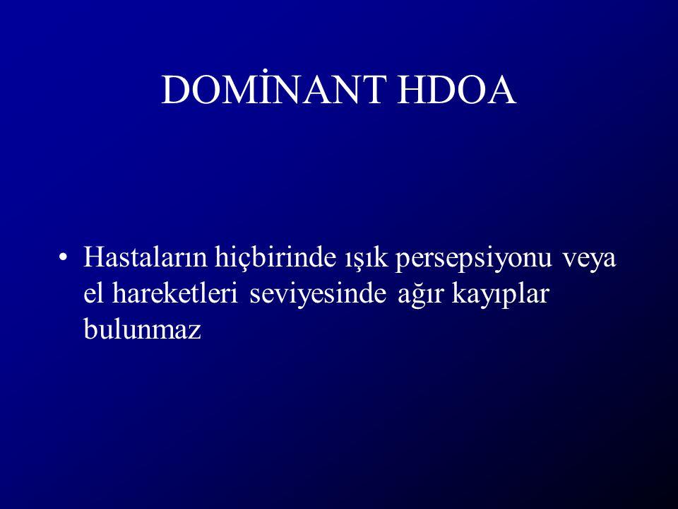 DOMİNANT HDOA Hastaların hiçbirinde ışık persepsiyonu veya el hareketleri seviyesinde ağır kayıplar bulunmaz.