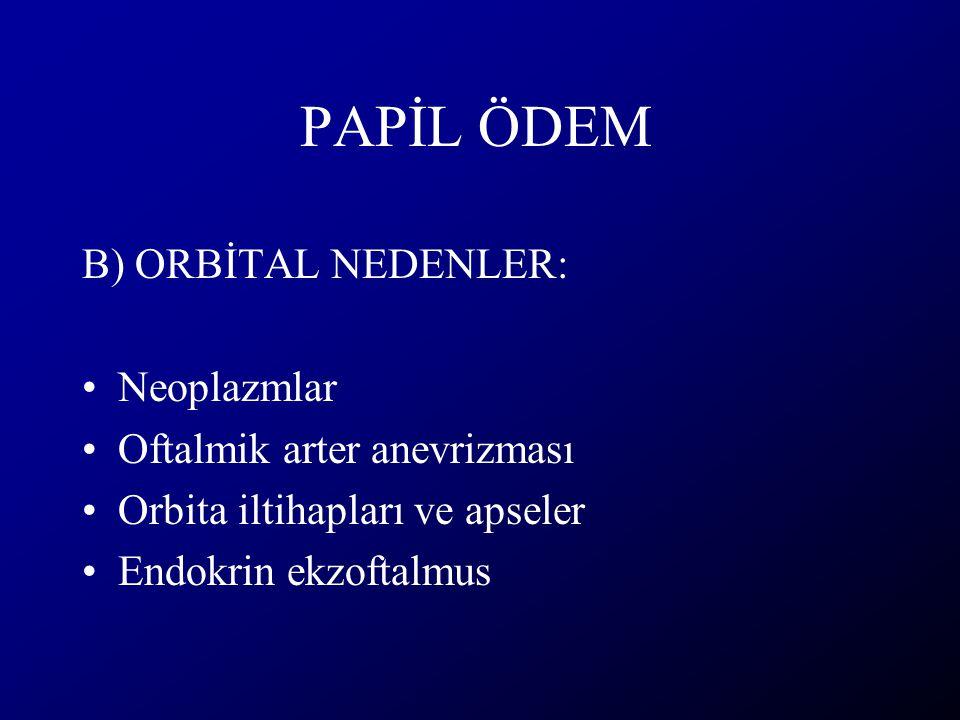 PAPİL ÖDEM B) ORBİTAL NEDENLER: Neoplazmlar Oftalmik arter anevrizması