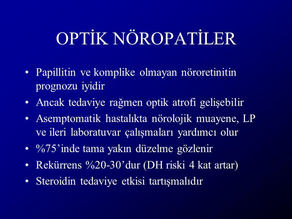 OPTİK NÖROPATİLER Papillitin ve komplike olmayan nöroretinitin prognozu iyidir. Ancak tedaviye rağmen optik atrofi gelişebilir.