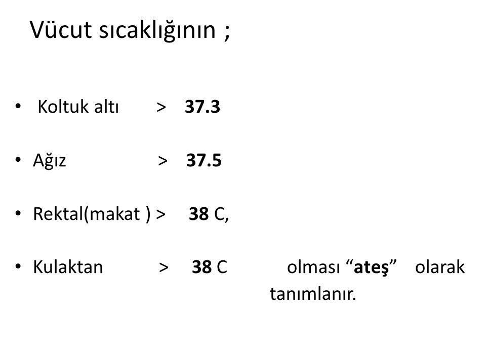 Vücut sıcaklığının ; Koltuk altı > 37.3 Ağız > 37.5
