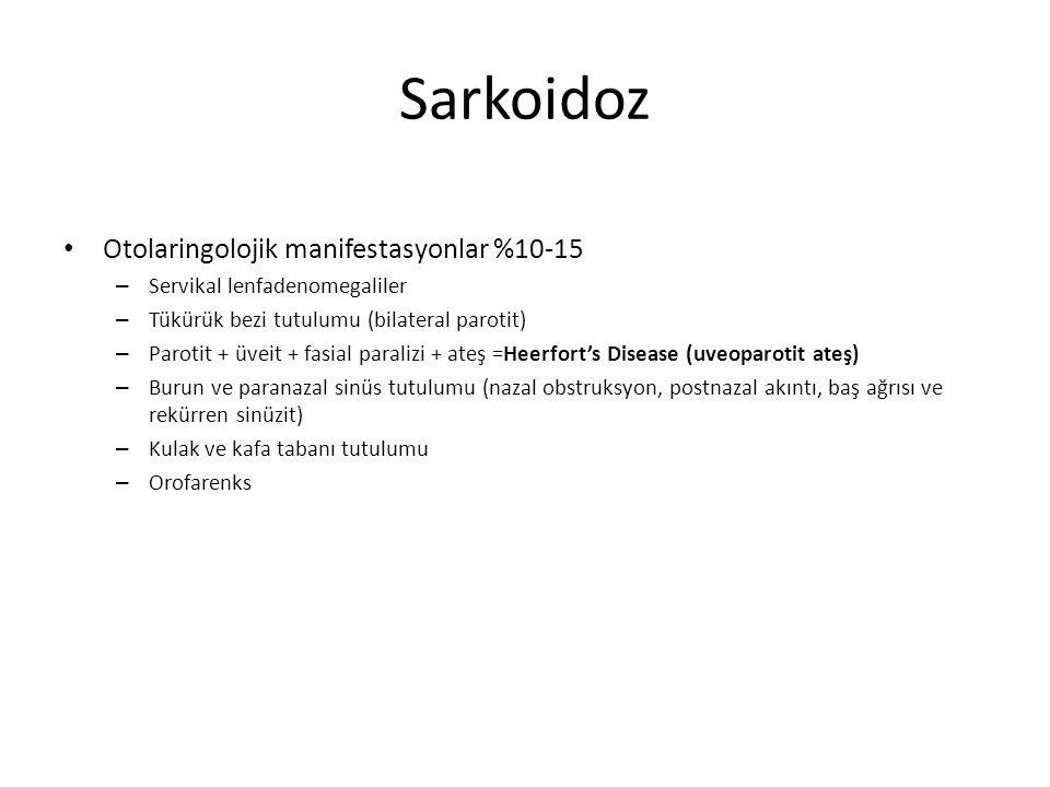 Sarkoidoz Otolaringolojik manifestasyonlar %10-15