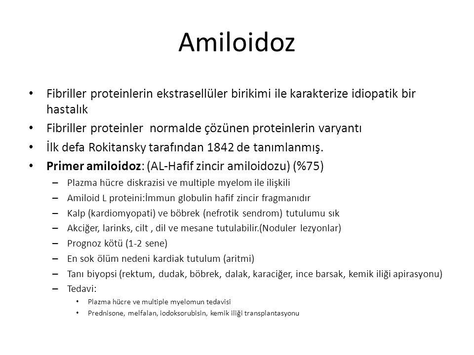 Amiloidoz Fibriller proteinlerin ekstrasellüler birikimi ile karakterize idiopatik bir hastalık.