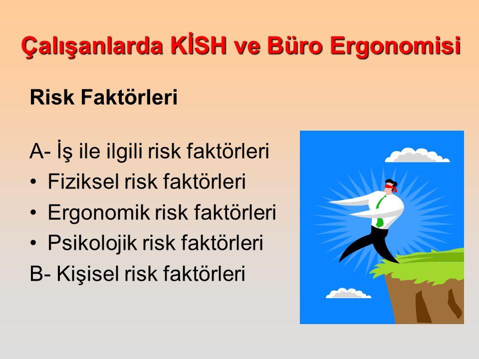 Risk Faktörleri A- İş ile ilgili risk faktörleri. Fiziksel risk faktörleri. Ergonomik risk faktörleri.