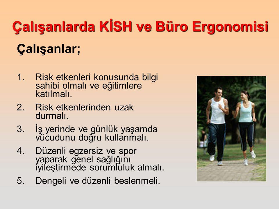 Çalışanlar; Risk etkenleri konusunda bilgi sahibi olmalı ve eğitimlere katılmalı. Risk etkenlerinden uzak durmalı.