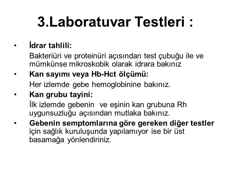 3.Laboratuvar Testleri :