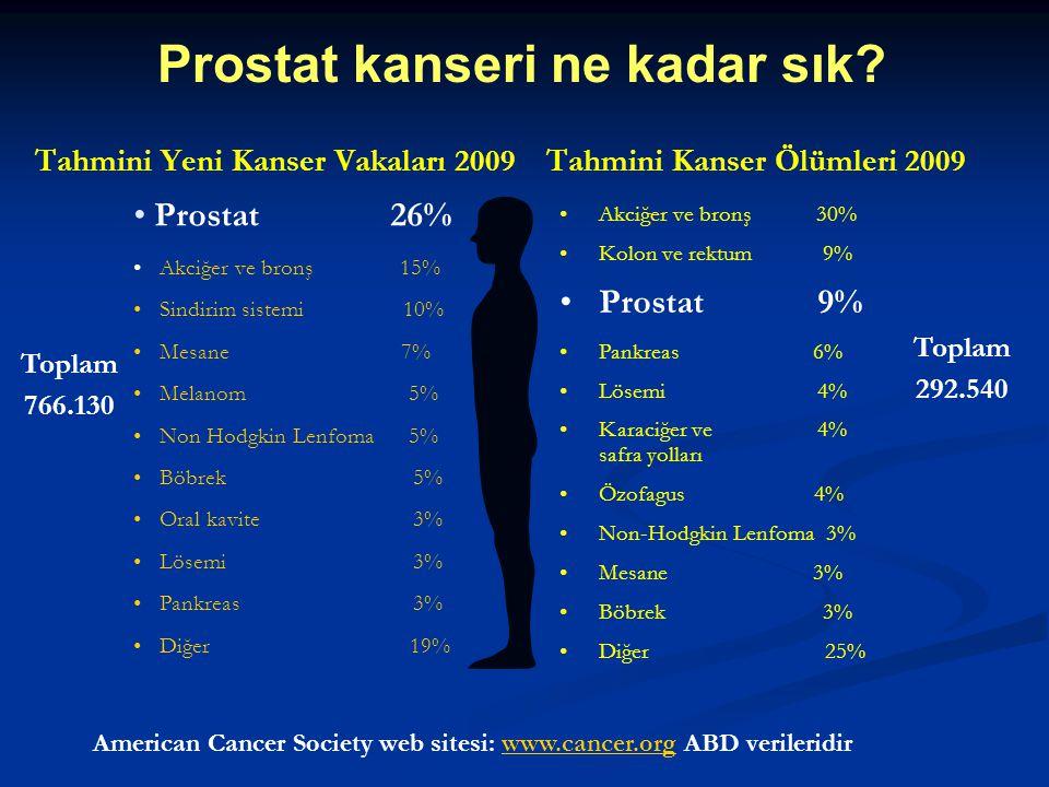 Tahmini Yeni Kanser Vakaları 2009