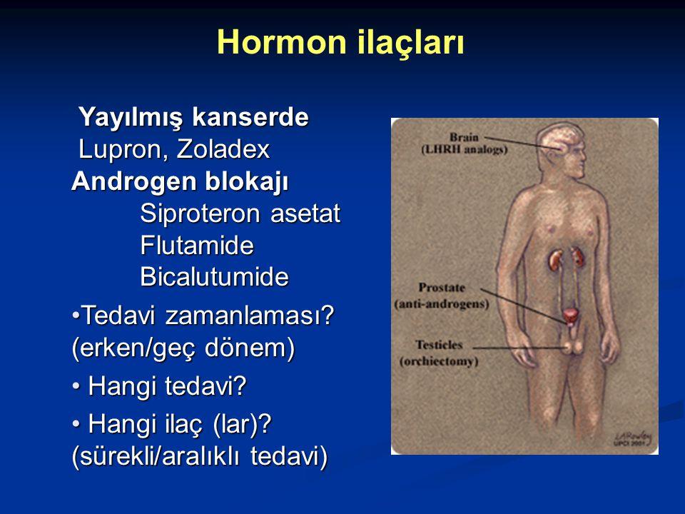 Hormon ilaçları Yayılmış kanserde Lupron, Zoladex Androgen blokajı