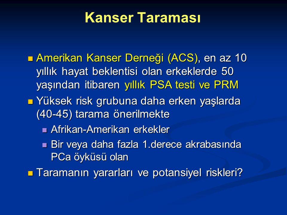 Kanser Taraması Amerikan Kanser Derneği (ACS), en az 10 yıllık hayat beklentisi olan erkeklerde 50 yaşından itibaren yıllık PSA testi ve PRM.