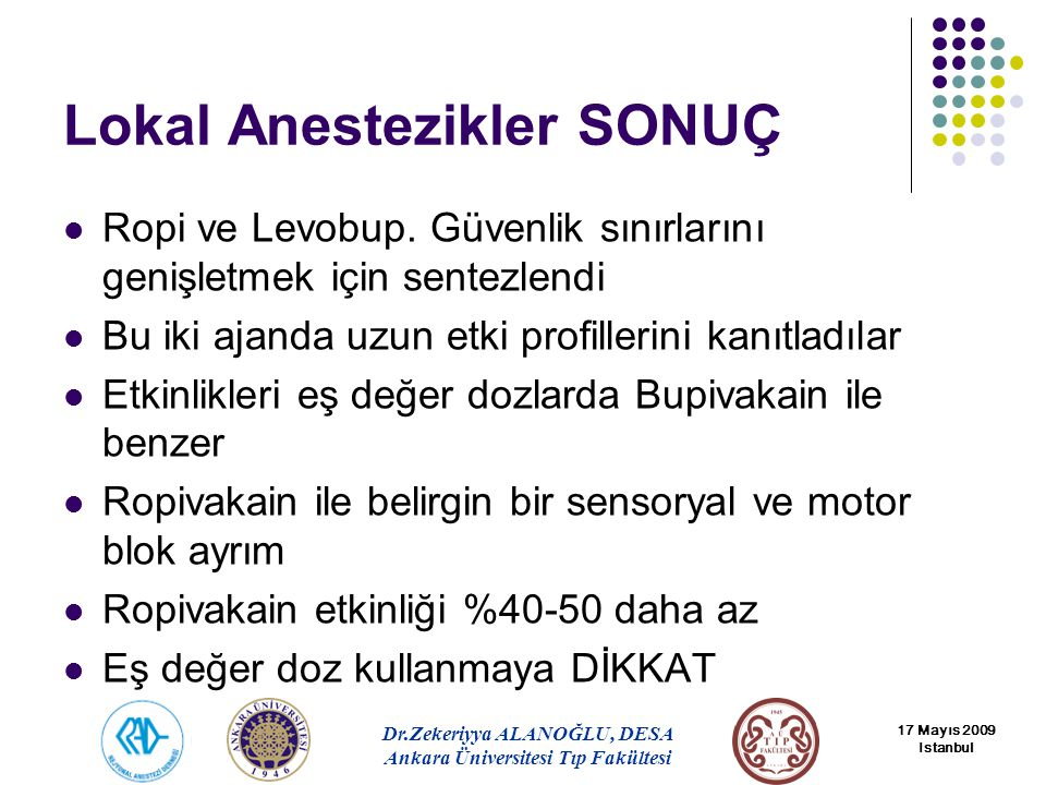 Lokal Anestezikler SONUÇ