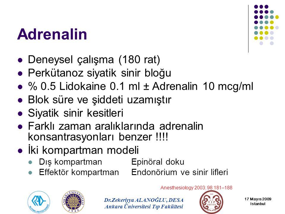 Adrenalin Deneysel çalışma (180 rat) Perkütanoz siyatik sinir bloğu