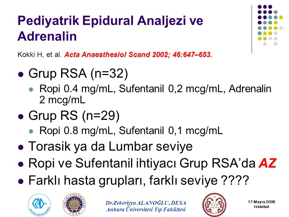 Pediyatrik Epidural Analjezi ve Adrenalin