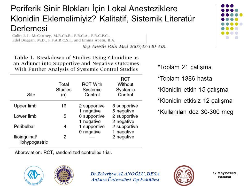 Periferik Sinir Blokları İçin Lokal Anesteziklere Klonidin Eklemelimiyiz Kalitatif, Sistemik Literatür Derlemesi