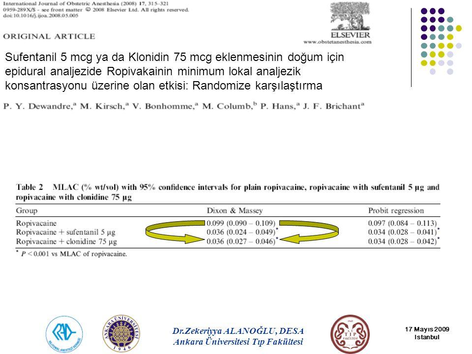 Sufentanil 5 mcg ya da Klonidin 75 mcg eklenmesinin doğum için epidural analjezide Ropivakainin minimum lokal analjezik konsantrasyonu üzerine olan etkisi: Randomize karşılaştırma
