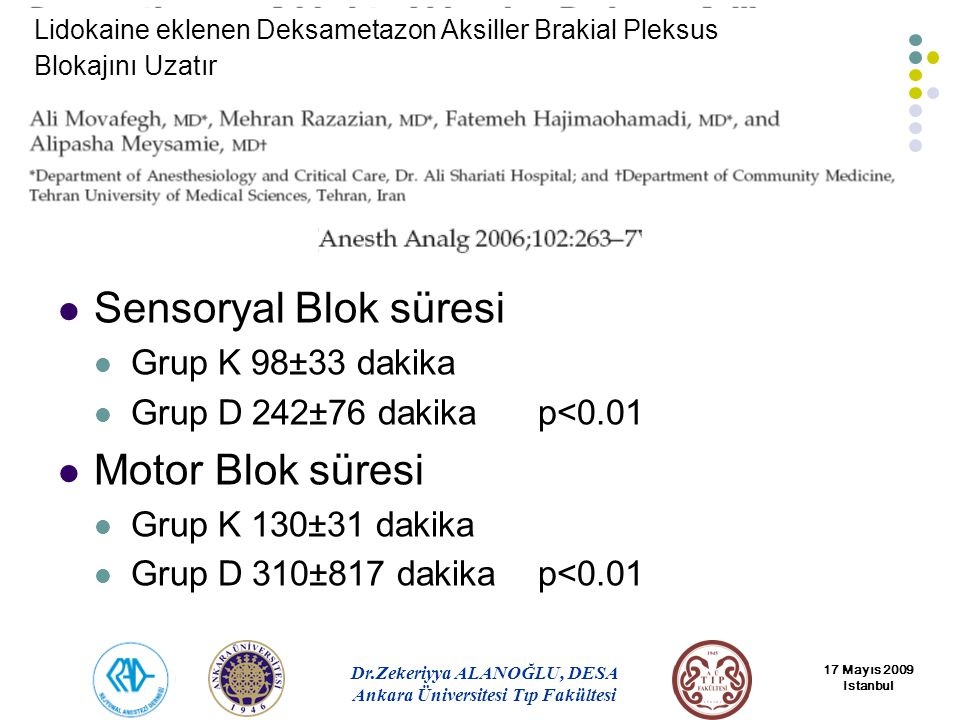 Sensoryal Blok süresi Motor Blok süresi Grup K 98±33 dakika